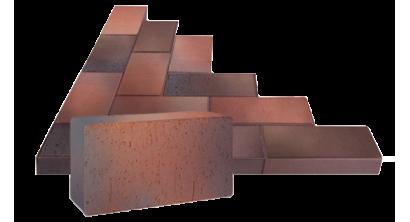 Брусчатка тротуарная клинкерная ЛСР Глазго темно-красная флэшинг, 200*100*50 мм, фото номер 1