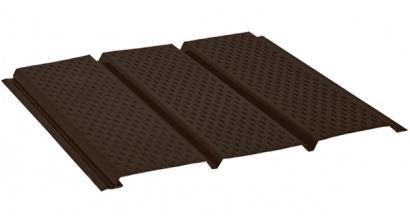 Софит с полной перфорацией AQUASYSTEM темно-коричневый (RR32), 2,4*0,303 м, фото номер 1