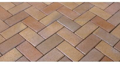 Брусчатка тротуарная клинкерная Penter Florenz bunt orangegelb geflammt, 200x100x45 мм, фото номер 1