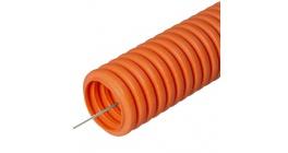 Труба гофрированная ПНД тяжелая безгалогенная (HF) оранжевая с зондом д20 (50м) фото