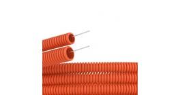 Труба гофрированная ПНД 16мм с протяжкой тяжелая оранжевая (100м) фото