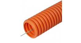 Труба гофрированная ПНД легкая безгалогенная (HF) оранжевая с/з д20 (100м) фото