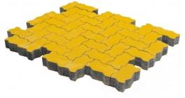 Тротуарная плитка BRAER Волна Желтый, 240*135*80 мм фото