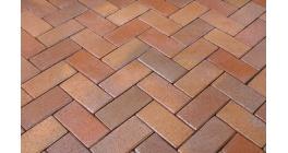 Брусчатка тротуарная клинкерная Penter Florenz bunt orangegelb geflammt, 200x100x45 мм фото