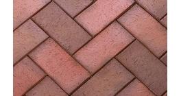 Тротуарная клинкерная брусчатка ЛСР Ноттингем красная флэшинг, 200*100*50 мм фото