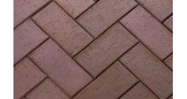 Тротуарная клинкерная брусчатка ЛСР Висбаден терракотовая флэшинг, 200*100*50 мм фото