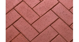 Тротуарная клинкерная брусчатка ЛСР Эдинбург темно-красная, 200*100*50 мм фото