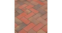 Тротуарная клинкерная брусчатка Lode LHL Argon темно-красный шероховатая, 200*100*47 мм фото