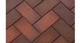 Тротуарная клинкерная брусчатка ЛСР Глазго темно-красная флэшинг, 200*100*50 мм фото
